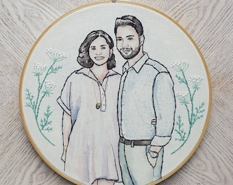 Custom Couple Portrait Watercolor Modern Embroidery Hoop Art: Gift for Weddings, Engagements, and Anniversaries