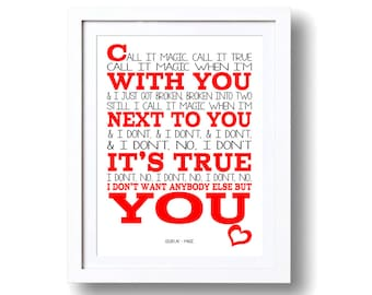 Song Lyrics Coldplay Magic - ( Print Only) Lyric Art Song Print Music Lyrics Gift Typography Printed Lyrics