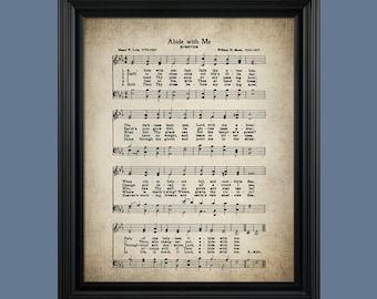 Abide With Me Hymn Print- Sheet Music Art - Hymn Art - Hymnal Sheet - Home Decor - Music Sheet - Print - #HYMN-P-040
