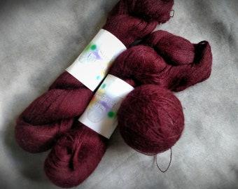 Suri Alpaca Yarn Skeins Lace Weight 3 Hanks Skeins 2625 yards Cranberry Maroon Suri Elegance