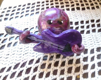 Little Octopus Mini Marble Friend Rock Star with Hand Sculpted Electric Guitar Purple and Multi Color Swirl