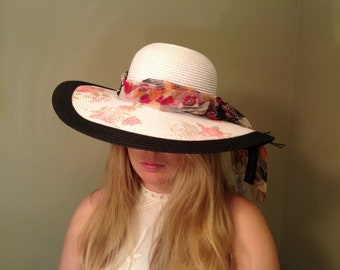 Kentucky derby hat Easter church black white  floral big large wide brim