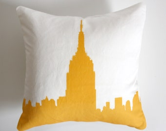 Empire State Building Pillow NYC Skyline Pillow New York City Pillow AirBnB Decor Accent Pillow New York City Loft Decor New York City Loft