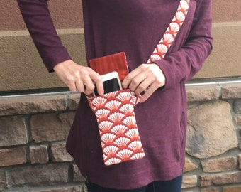 Cell phone purse that is comfortable and secures your phone, cross body purse in a designer fabric, passport bag that is a tiny purse