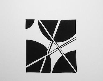abstract linocut, printmaking, linocut print