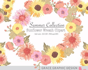 Sunflower Wreath Summer Clipart, Flower Clipart, Wreath Clipart, Commercial Use Digital Clipart, Instant Download, EPS and PNG