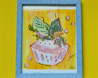 Happy Planter, Framed Gouache & Watercolor Painting, Plant Mom, Organic Lifestyle