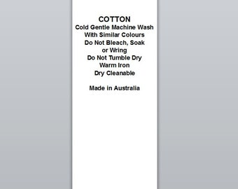 Cotton Cold wash Warm iron   | Satin Clothing Labels (WP023)