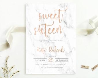 Sweet sixteen birthday invitation, Modern 16th birthday invitation, Marble birthay invite, Rose gold birthday invitation, Printable, Digital