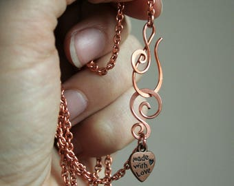 Copper Chain w Handmade Clasps - Copper Chain for Your Pendant - Pure Copper Chain - Copper Lace Chain - Solid Copper Chain