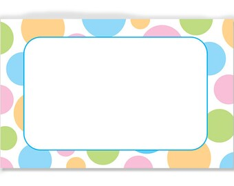 "50 Soft ""Pastel Dots"" Florist Blank Enclosure Cards Small Tags Crafts (Free Shipping!)"