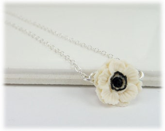 Tiny White Anemone Flower Necklace - Anemone Jewelry, White Black Flower Necklace, Simple Black and White Flower Necklace