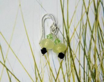 Australian Phrenite & sterling Silver earrings - Swarovski crystals - gemstone Designer artisan - Short