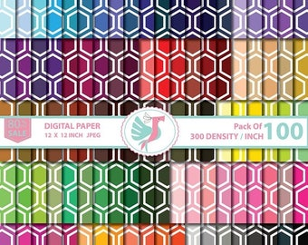 ON SALE 100 Honeycomb digital paper, Hexagon Queen Bee Hex pattern, scrapbook papers, printable patterned background, commercial use,  Sale