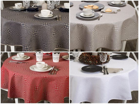 Oval Linen Tablecloth Round Linen Table Cloth White Oval
