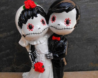 Wedding Cake Topper Day of the Dead Skeleton Couple 8 Inches
