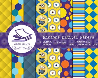 Minions Digital Papers - 8 Designs 12x12in, 30x30 cm - Ready to Print - High Quality