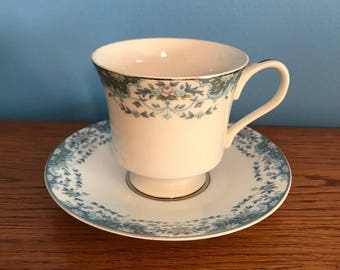 Footed Cup and Saucer Set in Blue Madeira by Lynnbrooke Fine China