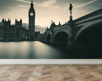 Wall Mural London in monochrome, Peel and Stick Repositionable Fabric Wallpaper for Interior Home Decor