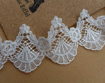 RETRO White Venice Lace, Scalloped Lace Trim, Victorian Lace, Wedding Bridal Veils Necklace Lace Trims