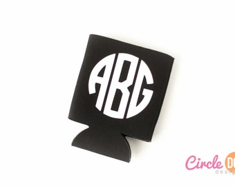 Monogrammed KOOZIE® (Circle Font) | Personalized Beer/Soda Can Hugger | sorority gift | wedding bridal party | BFF best friend | Engagement