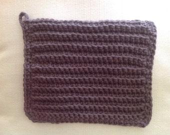 100% Cotton Dishcloth/Washcloth Handmade Brown
