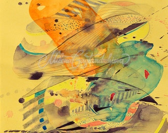 Original watercolor abstract painting on yellow paper, black and yellow modern painting with green, orange, pink 25x35 cm (app. 10x12')