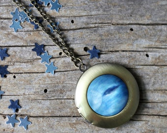 Neptune Outer Space Galaxy Locket - Blue Planet Pendant Necklace - Astronomy Wedding - Unique Science Gift - Solar System - Silver or Bronze