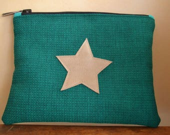 Green cover with applied gold leather star