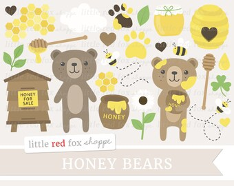 Honey Bears Clipart, Honey Clip Art, Beehive Clipart, Bear Clipart, Honeycomb Clipart, Digital Graphic Design Small Commercial Use