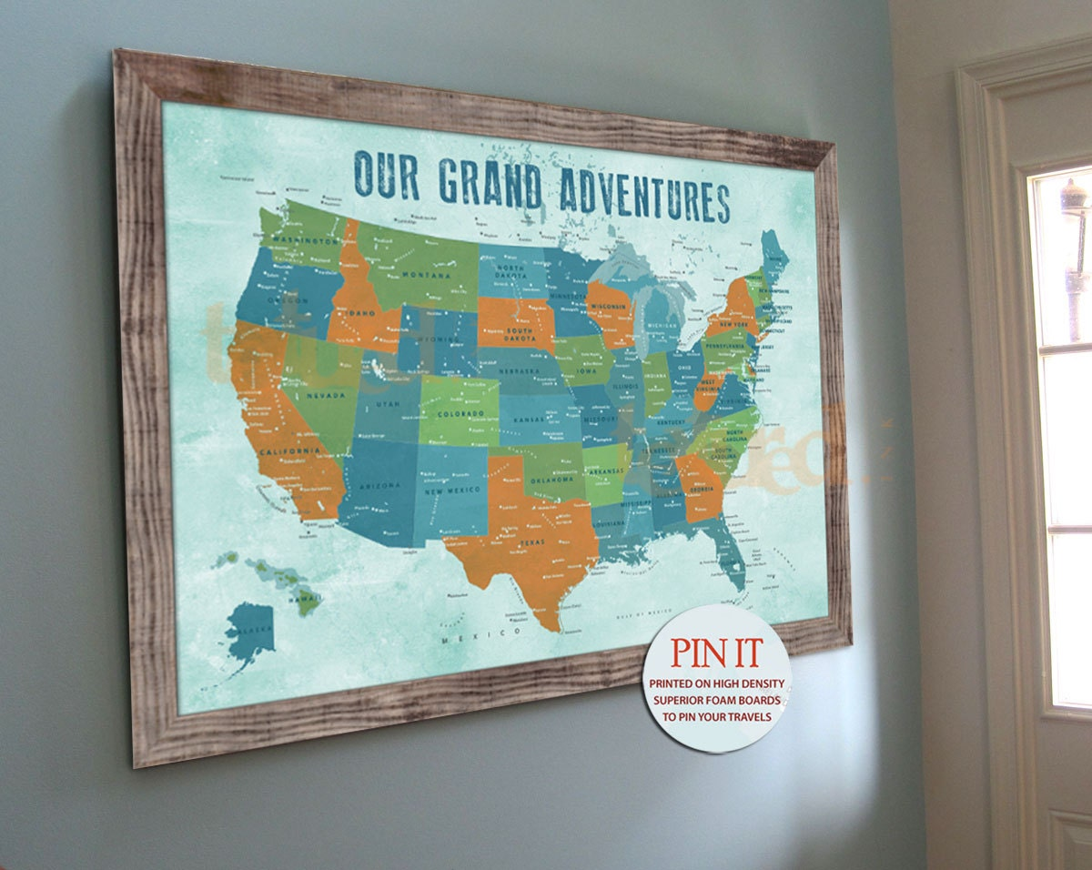 US map Push Pin Board Family travel wall 20X30 Inches