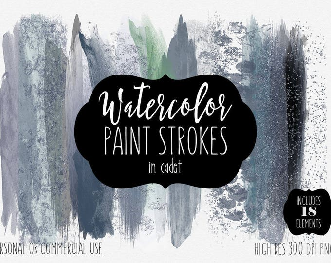 NAVY BLUE WATERCOLOR Brush Strokes Clipart Commercial Use Clip Art Watercolor Paint Strokes Gray Metallic Confetti Textures Logo Graphics