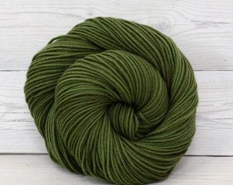 Calypso - Hand Dyed Superwash Merino Wool DK Light Worsted Yarn - Colorway: Olive