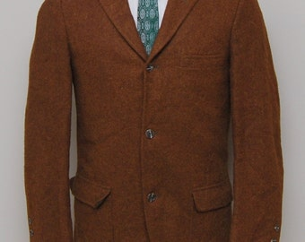 Men's Brown Wool Blazer with Faux Suede Trim/1950s Men's Wool Tweed Blazer/Men's Vintage Brown Tweed Blazer/1950s Mens Tweed Blazer cufEFR1