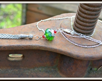 Silver Tassel Necklace with Green and Red Beads colorful boho jewelry handmade gift
