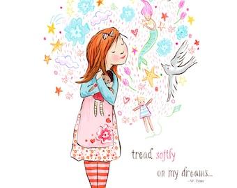 Children's Wall Art Print - Tread Softly - Kids Nursery Room Decor