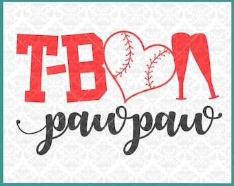 CLN0337 T-Ball PawPaw PePaw Teeball Kid's Baseball Grandpa SVG DXF Ai Eps PNG Vector INstant Download Commercial Cut File Cricut Silhouette