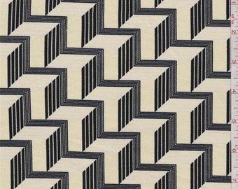 Buttercream/Black Stairstep Stretch Twill, Fabric By The Yard