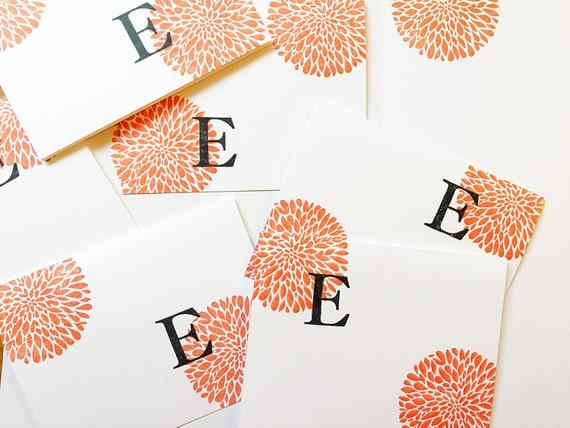 Stocking Stuffer. Secret Santa Gift. Letter Card Set. Personalized Gift under 20. Colorful Initial Gift for her. Monogrammed Card Set of 4