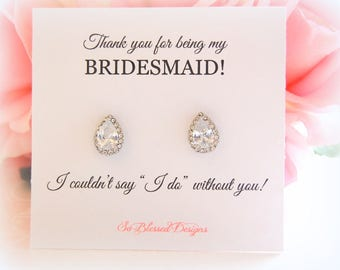 Crystal Bridesmaid Jewelry, Bridesmaid Earrings, Bridesmaid Gift, Bridal stud earrings, Crystal Teardrop Studs