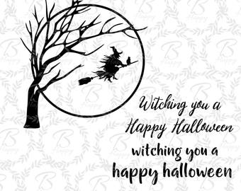 halloween svg , halloween witch decore, happy halloween svg, witch  flying moon halloween, dead tree witch, witch cat flying svg