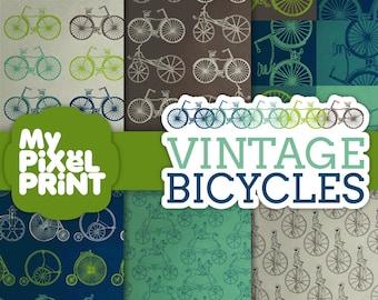 Vintage Bicycles - Blue Green Gray - Ride Monocyle Two Wheeler Wheels Bikes Pattern- Digital Scrapbooking Paper Pack - My Pixel Print