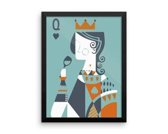 Queen Card Framed Art Print | Multiple Sizes | Home Decor | Auggie Lamb