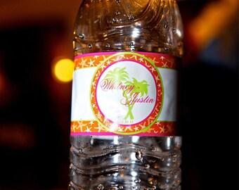 Water Bottle Labels - Beach Weddings  Weatherproof Polyester Laser - 50 Custom Printed