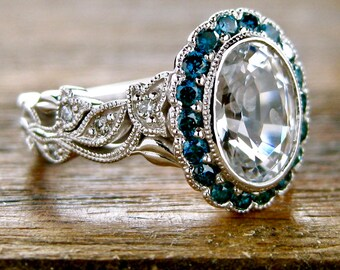 Vine Engagement Ring with White Sapphire and Teal Blue Diamonds in 14K White Gold Flower & Leaf Setting Size 6