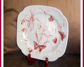 Spode's Collector Plate Butterfly Design Wall Decor Dining Serving Plate Artist Cecil Beaton's 1st Year Issue Dedicated to Peace