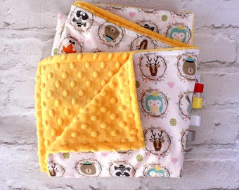 Yellow Baby Blanket - Woodland Animals Blanket - Baby Shower Gift - Minky Baby Blanket - Soft Baby Blanket - Receiving Blanket