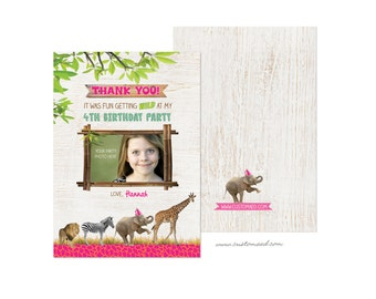 Zoo Birthday Thank You Card, Zoo THANK YOU Notes, Personalized with Photo, DIY Printable, Zoo Birthday Party, Safari Party, Printed Cards