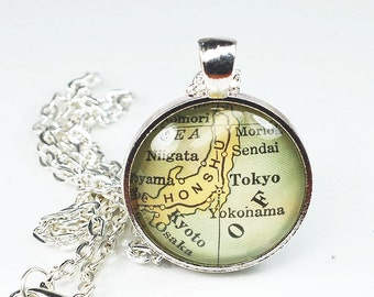 Tokyo Map Necklace- Vintage Map Pendant Jewelry from an Antique 1929 Atlas, Japan Map Necklace, Map Jewelry, Tokyo Necklace, Honshu Pendant
