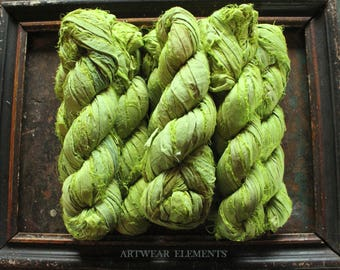 Pure Sari Silk, Lush Lime, 100g Skeins, New Recycled Sari Silk, Fair Trade, Ribbon, Yarn, Silk, Sari silk, Fabric, ArtWear Elements, 223A